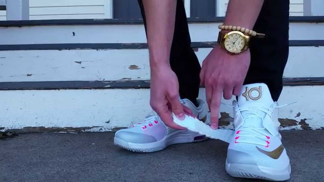 new styles d4f4a 7e146 NIKE KD 7 VII AUNT PEARL PRM PREMIUM WHITE GOLD PINK ON FEET REVIEW HEAT! -  YouTube
