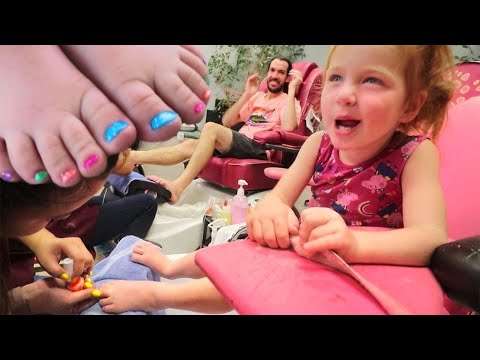 FAMILY gets a PRINCESS MAKEOVER!! Adley controls our day with surprise Pedicures! (my first time)