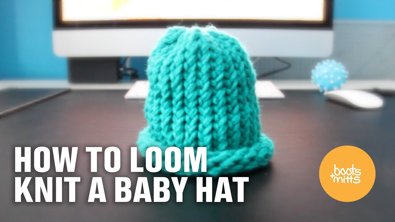 01a45bf00d1 How to Loom Knit a Baby Hat (Easy and Fast!) - YouTube