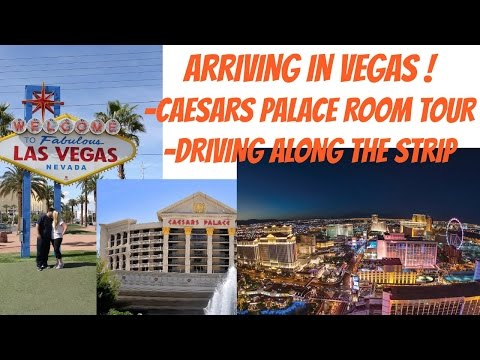 USA TRAVEL VLOG - ARRIVING IN VEGAS !! CAESARS PALACE ROOM TOUR & DRIVING THE STRIP