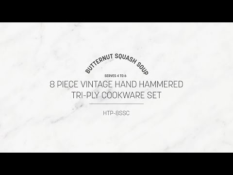 8 PIECE VINTAGE HAND HAMMERED TRI-PLY COOKWARE SET
