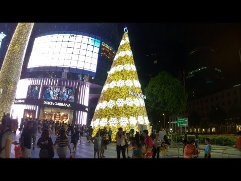 [4K] Video walk around Orchard Road, Christmas Light-Up 2017