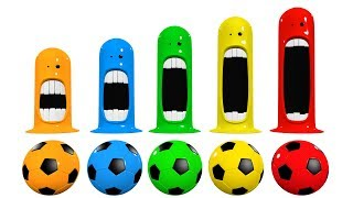 Learn Colors With Surprise Mouth Scream Toys and Soccer Balls