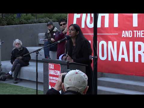 Seattle City Council socialist Kshama Sawant leads tax protest at Amazon Spheres