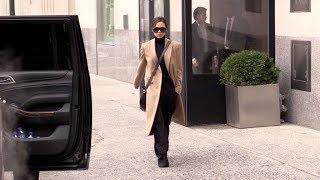 Designer Victoria Beckham running errands in New York City.