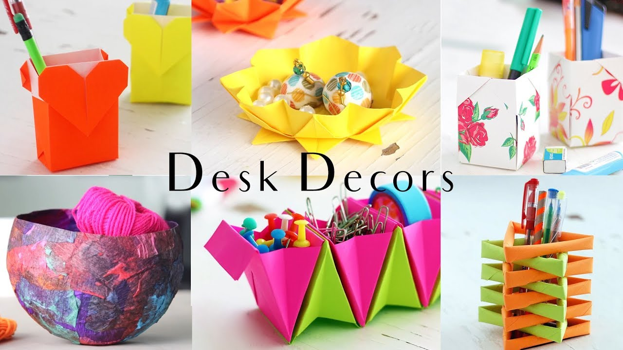 6 Easy Desk Decors Paper Craft Ideas Compilation Youtube