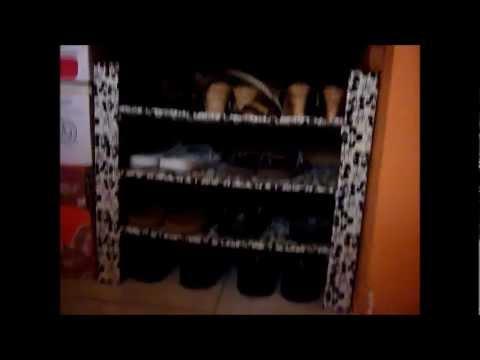 Estante de cart n para guardar zapatos youtube for Estantes de carton
