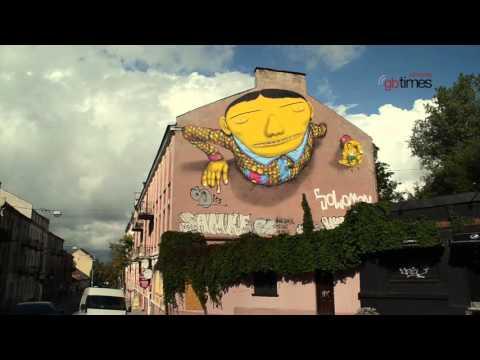 Os Gêmeos painting @ Vilnius Street Art 2015 | gbtimes Lithuania