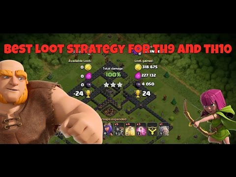 Best Loot Strategy For TH10 And Th9 | Clash Of Clans | Loot Attacks 2017