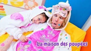 Vidéo en français. La famille de licornes. La manucure pour les filles