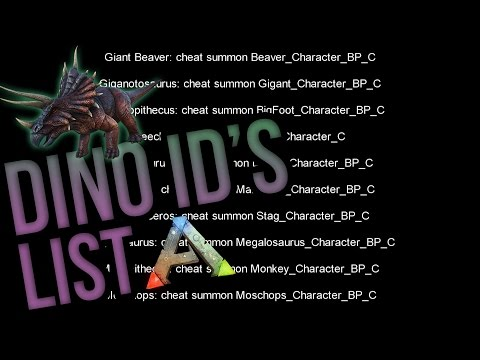 ARK DINO ID's - ARK DINO IDs LIST FOR ADMINS - HOW TO SPAWN DINOS XBOX / PS4 / PC