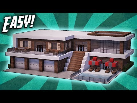 Minecraft How To Build A Modern Mansion House Tutorial 27 Youtube