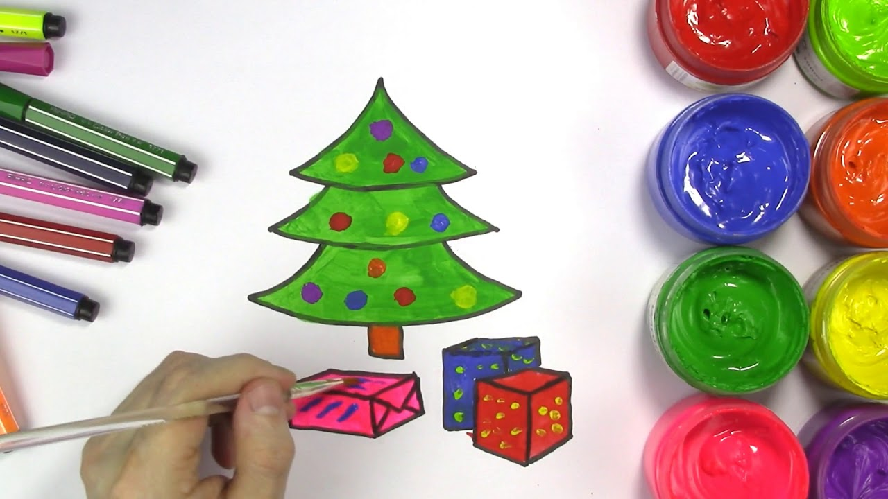 How to Draw Christmas Tree and Christmas Presents | Learn Colors for ...