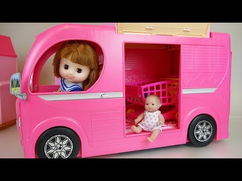 Baby doll bus car toys baby Doli camping play