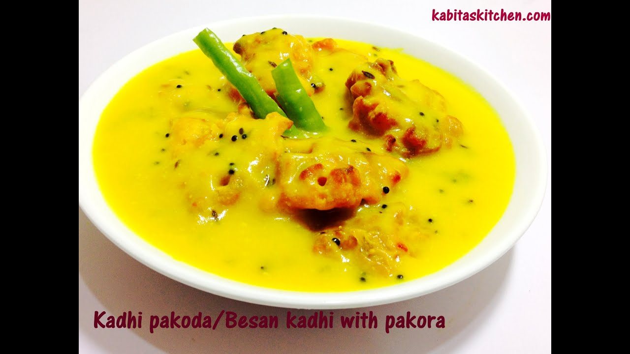 Kadhi Pakoda-Besan Yogurt Kadhi with Pakora Recipe-How to make
