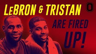 Lebron james & tristan thompson are fired up! bronny's team loses by 1!