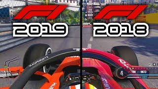 F1 2019 Game v F1 2018 Game: MONACO GP COMPARISON Onboard Ferrari Gameplay!