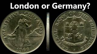 1966 Twenty Five Centavos English Series Coin - Minted in London or Germany (Tagalog)