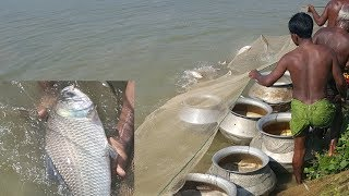 Fishing & Cooking | Catching Catla & Carp Fish | Charity Food Prepared For Another Village Kids
