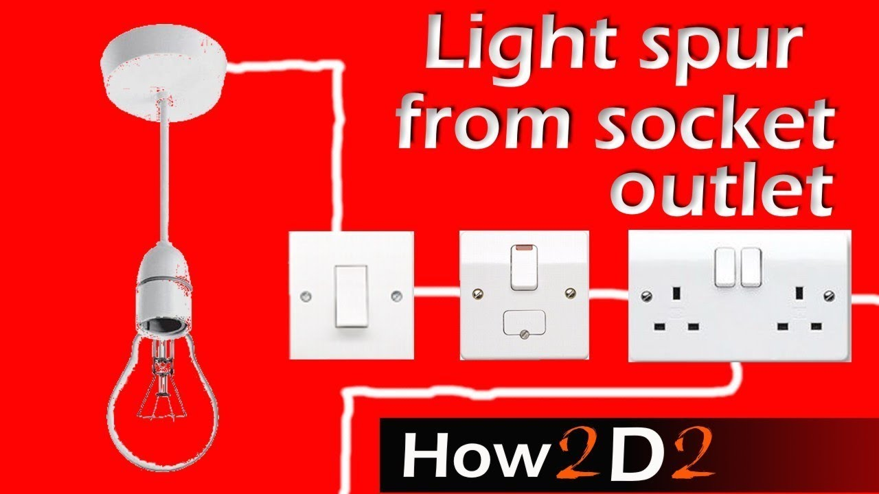 light spur from socket spur for lighting off ring main wiring rh youtube com Wall Socket Wiring Diagram Wall Socket Wiring Diagram
