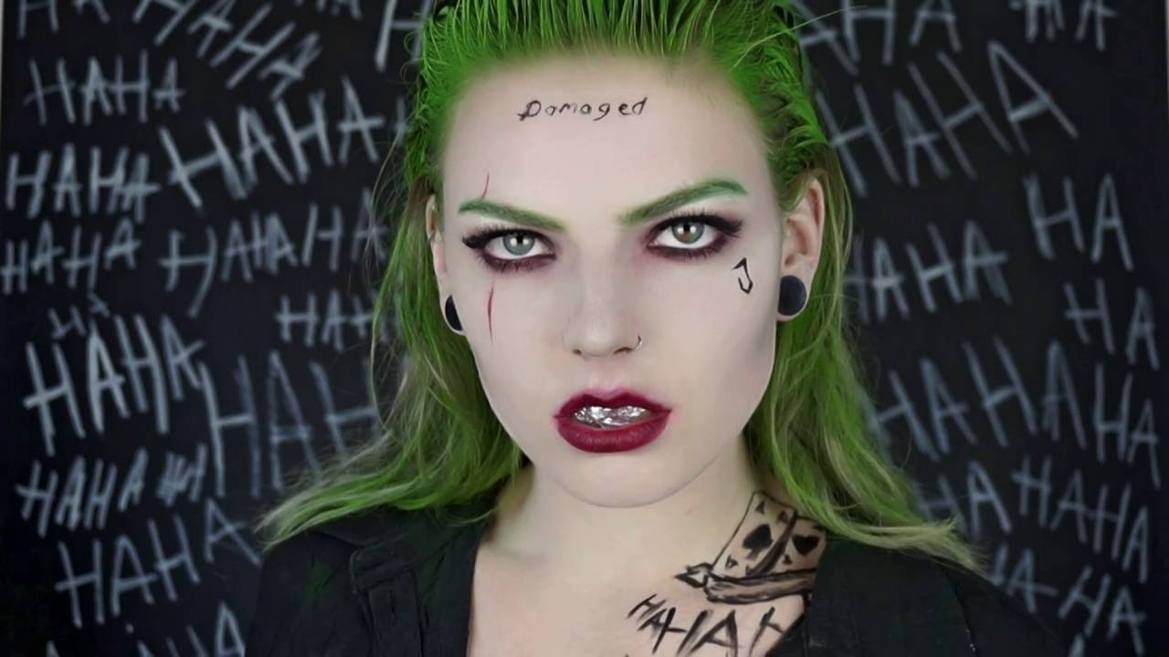 FEMALE JOKER MAKEUP HALLOWEEN TUTORIAL : suicide squad - YouTube