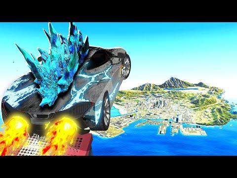 Jumping GODZILLA CARS Across GTA 5! (Impossible)