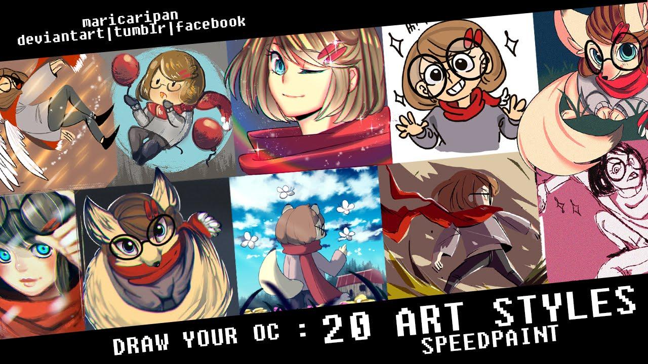 Draw Your Oc 20 Art Styles Speedpaint Youtube