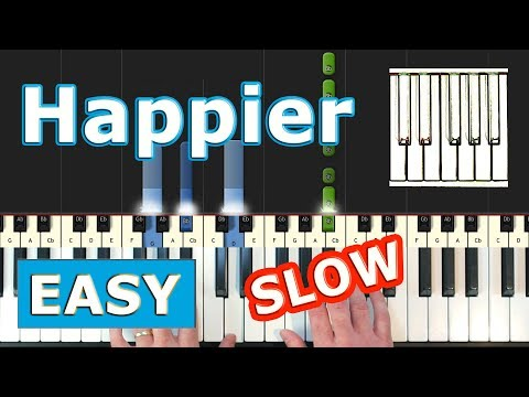 Marshmello ft. Bastille - Happier - SLOW EASY Piano Tutorial - Sheet Music (Synthesia)