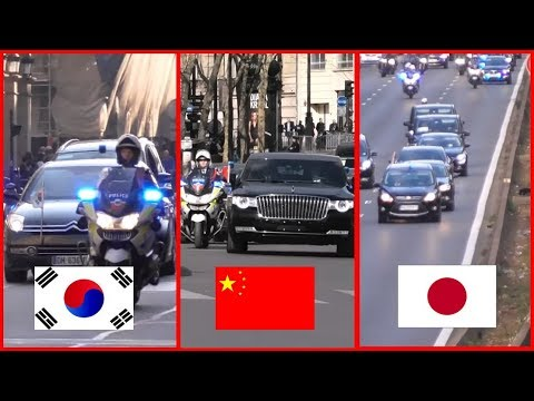 Chinese President Vs Emperor Of Japan Vs South Korean President : Convoy Comparison