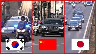 chinese president vs emperor of japan vs south korean president convoy comparison