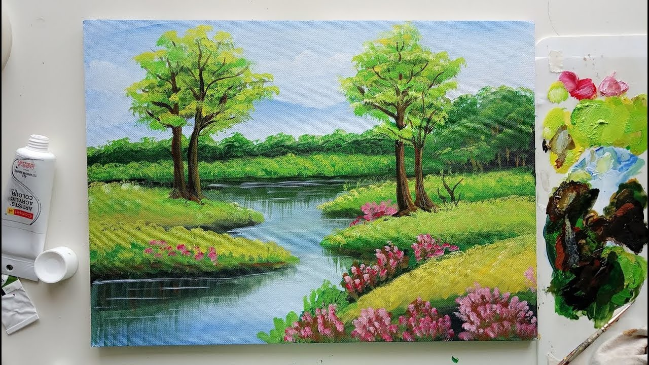 Trees In A Beautiful Landscape Easy Landscape Painting Acrylic Painting