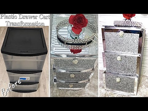 diy-glam-nightstand-from-plastic-cart!-home-improvement-diy|-home-decorating-ideas