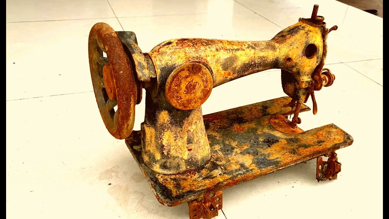 Restoration old sewing machine in deep mud   Restore old sewing tools   Valentine gift for wife
