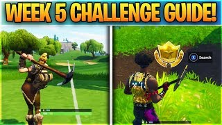 Fortnite WEEK 5 CHALLENGES GUIDE! - Follow Treasure Map found in Snobby Shores, Battle Star Location