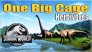 🦖 The Big Cage with all Herbivores | Jurassic World Evolution | JWE | Isla Nublar Sandbox