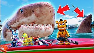 ADVENTURE ANIMATRONICS GET EATEN BY MEGALODON SHARK! (GTA 5 Mods FNAF Kids RedHatter)