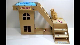 Дом для кота из картона своими руками