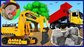 Funny Clown Bob | Construction vehicles RC Excavator Backhoe & Dump Truck in Funny Video for kids