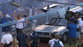 CIN@LAD: Thompson Exits DeLorean To Throw First Pitch