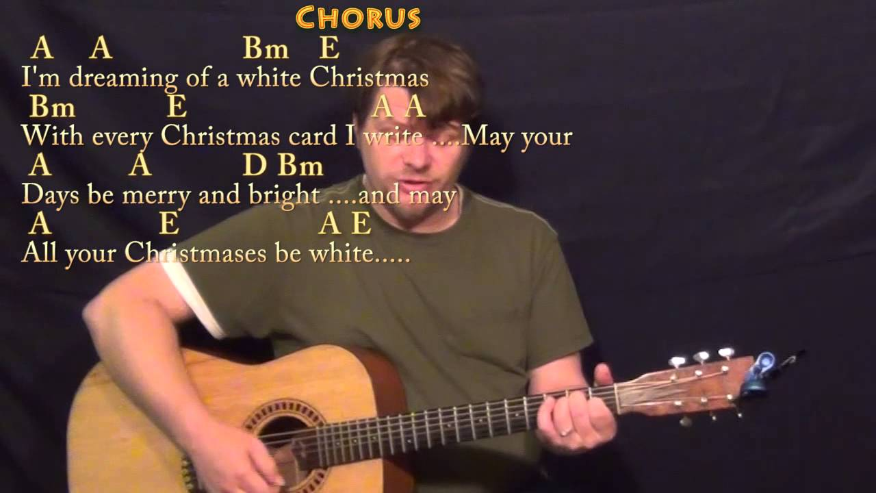 white christmas strum guitar cover lesson in a with chords lyrics youtube youtube