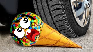Experiment Car vs M&M Icecream Toy, Waterlemon| Crushing Crunchy & Soft Things by Car - Woa Doodland