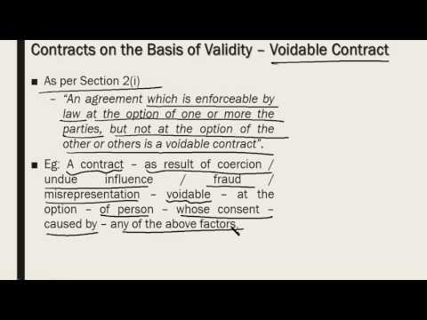 Contracts on the basis of validity