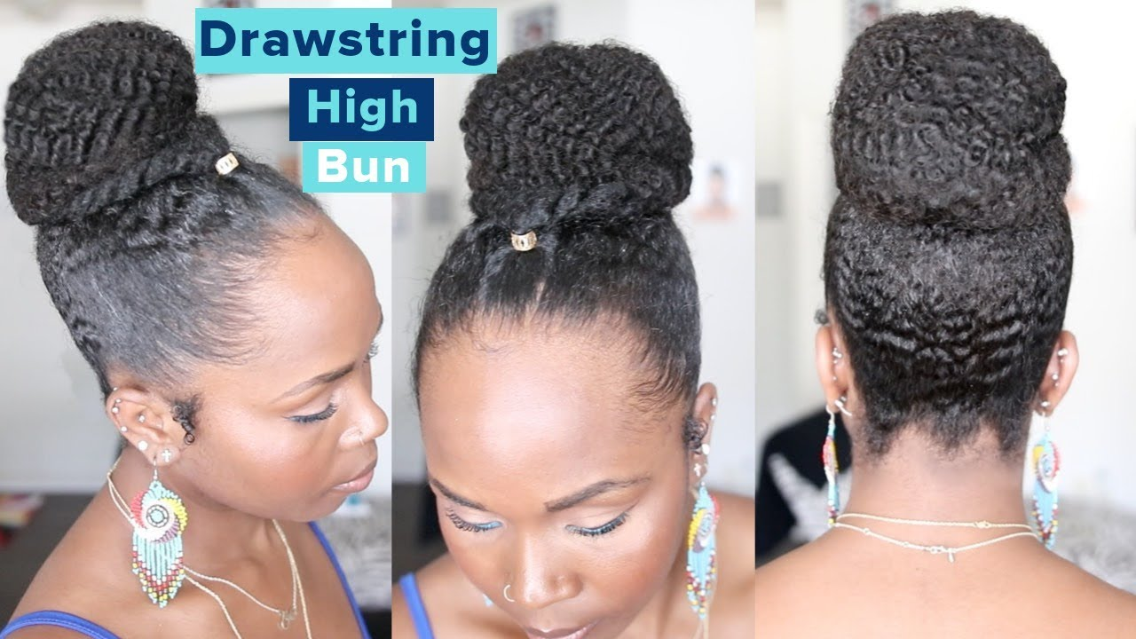 EASY Drawstring Ponytail Protective Style on Natural Hair High Bun with Drawstring
