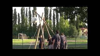 Italian Scouts Building A Trebuchet