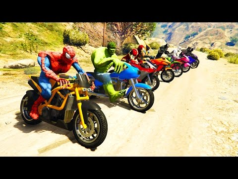 Thumbnail: COLOR MotorCycles Jumping in Grand Canyon with superheroes! Cartoon video for kids