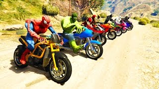 FARBE MotorCycles Springen im Grand Canyon mit Superhelden! Cartoon-Video für Kinder
