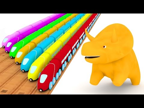 Thumbnail: Learn colors with trains and Dino the Dinosaur | Educational cartoon for children & toddlers 🦕🚆