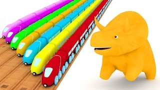 Learn colors with trains and Dino the Dinosaur | Educational cartoon for children & toddlers 🦕🚆