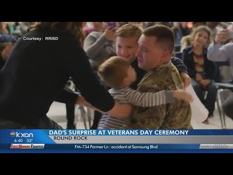 Soldier surprises sons at Round Rock school assembly