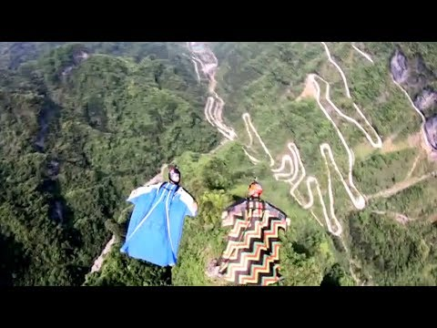 World-Class Wingsuit Flyers Complete Formation Flying in Central China